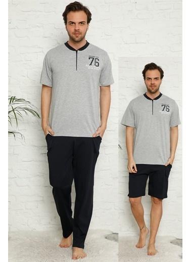 Akbeniz Erkek %100 Pamuk Cepli 3'Lü Pijama Takımı 6742 Gri